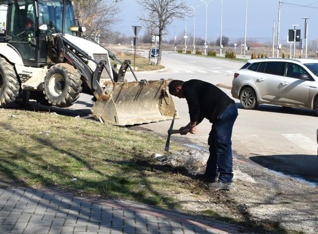 Изградба на нов тротоар во новиот центар